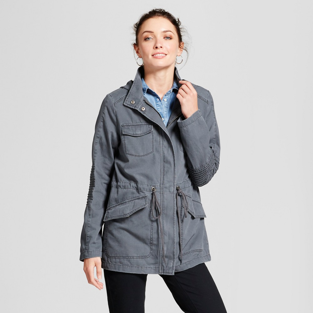 Womens Twill Anorak Hooded Jacket - A New Day Gray L