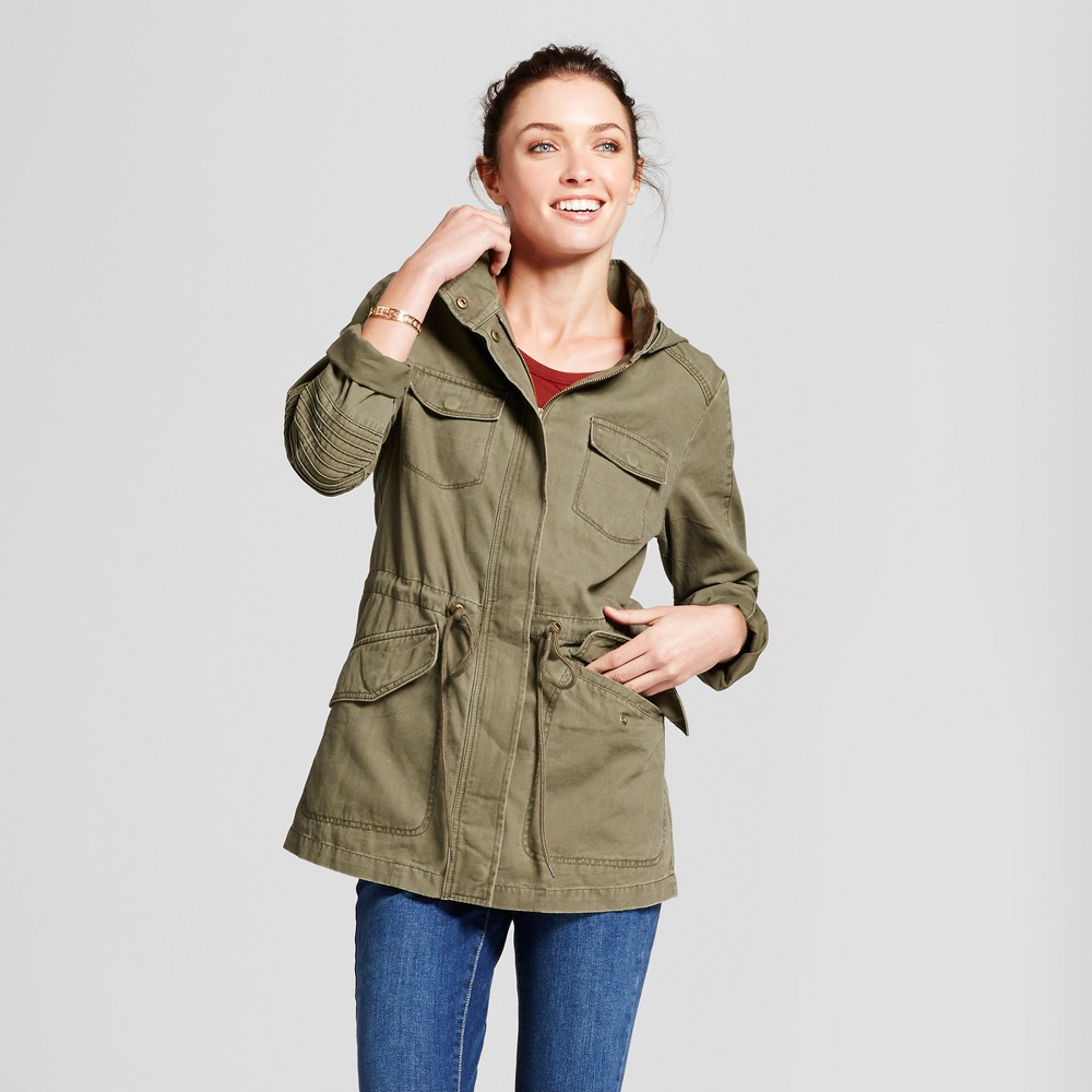Women's Twill Anorak Hooded Jacket - A New Day Olive (Green) XL