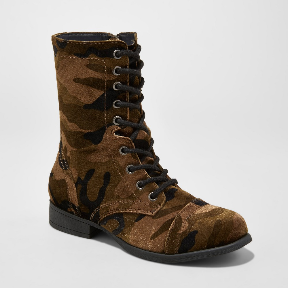 Womens Autumn Printed Velvet Combat Boots - Mossimo Supply Co. Green 8.5