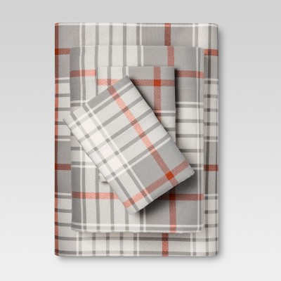 Flannel Sheet Set (King)Gray & Orange Plaid - Threshold™