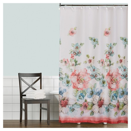 coral and white shower curtain. Coral Watercolor Polyester Shower Curtain White Red 72 X70 Charming And Ideas  Best idea home