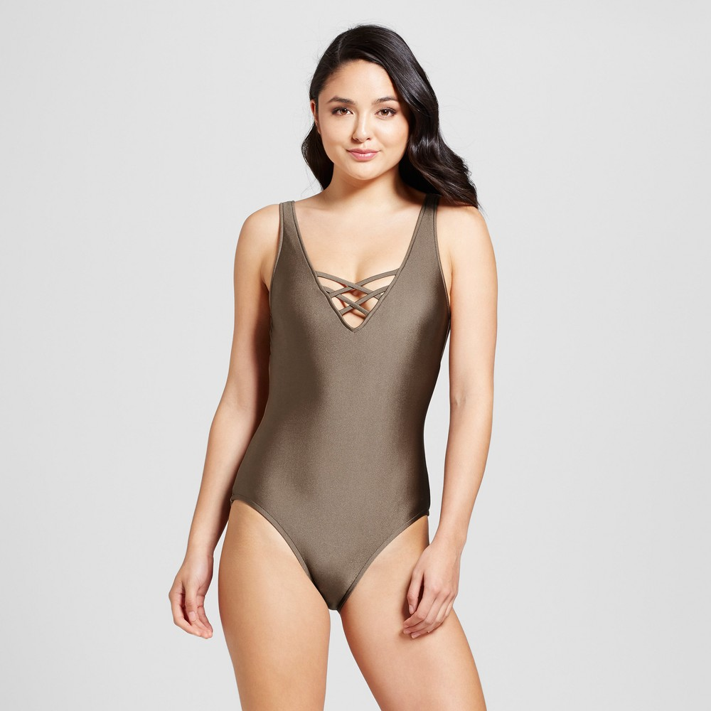 Womens Strappy V-Neck One Piece Swimsuit - Hot Chocolate - XL - Mossimo