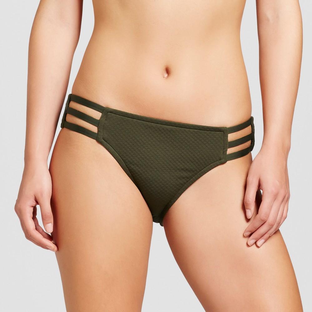 Womens Strappy Front Cheeky Bikini Bottom - Green Earth - L - Mossimo