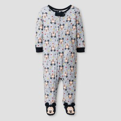 Baby Boys' Disney Mickey Mouse Footed Sleeper - Gray