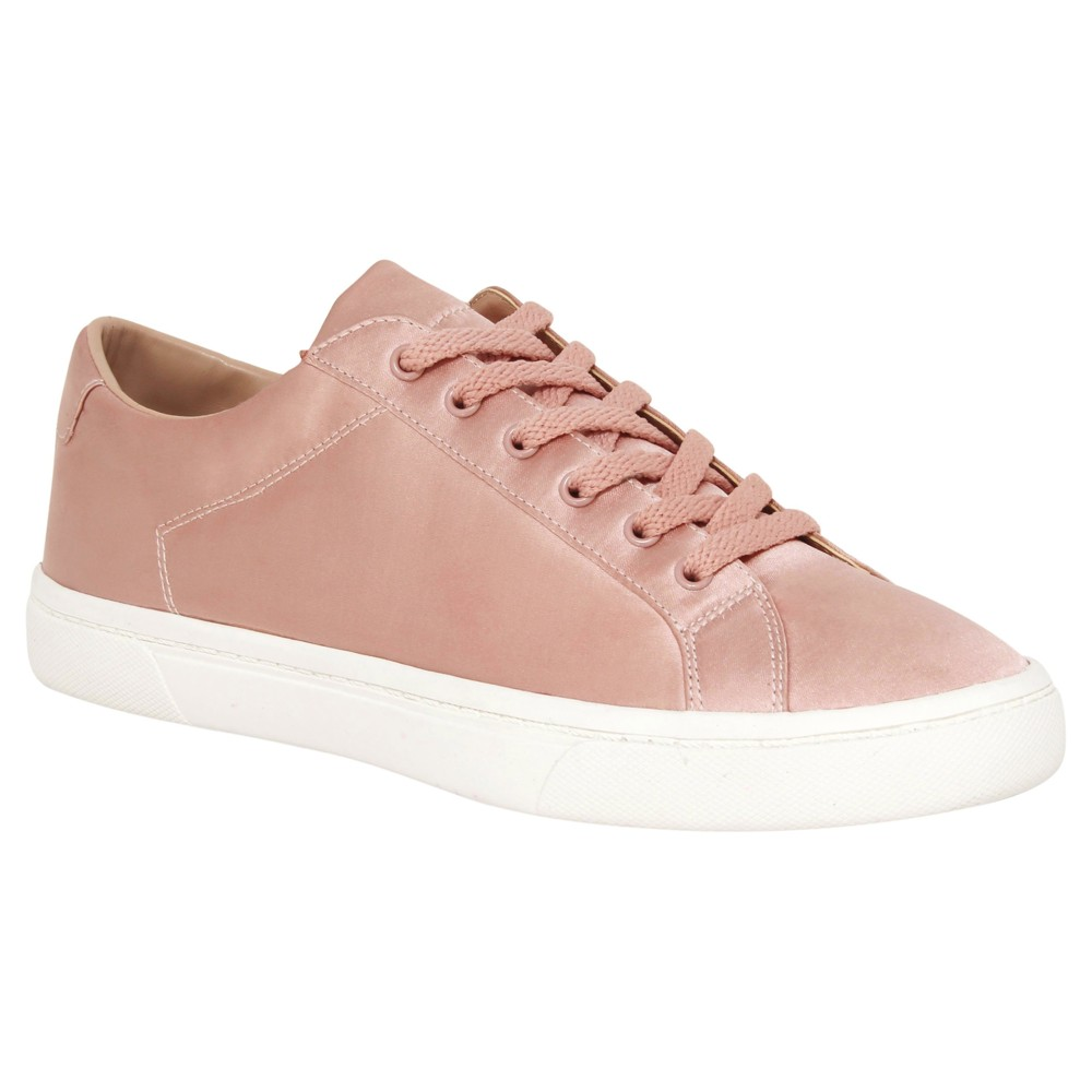 Womens Hazel Satin Lace Up Sneakers Who What Wear Blushing 7.5