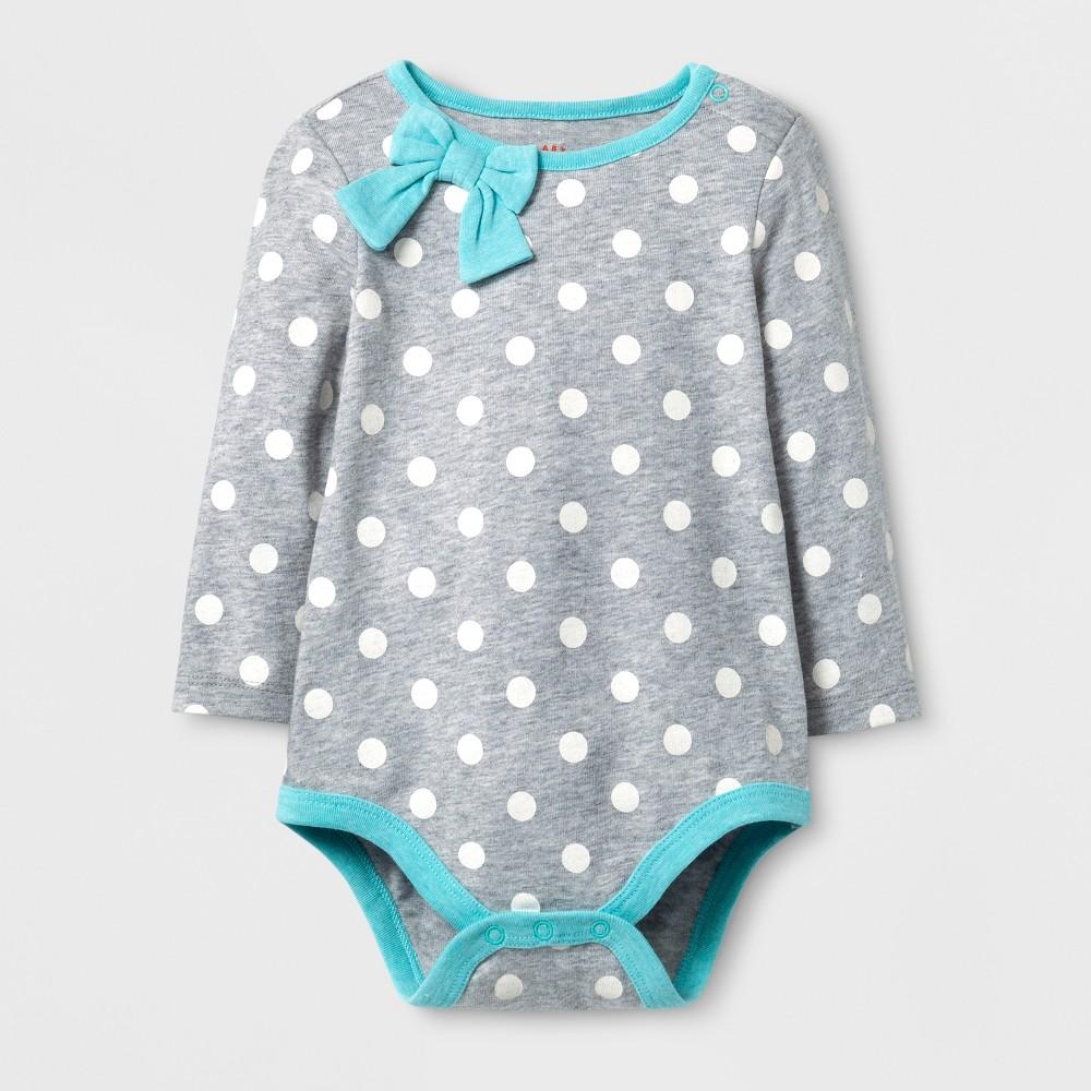 Baby Girls Bow Neck Bodysuit - Cat & Jack White/Aqua 6-9 Months, Size: 6-9 M, Gray