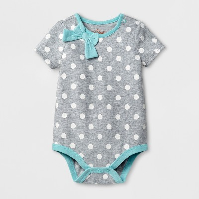 Baby Girls' Long Sleeve Bow Neck Bodysuit - Cat & Jack™ White Dot/Aqua 3-6 Months