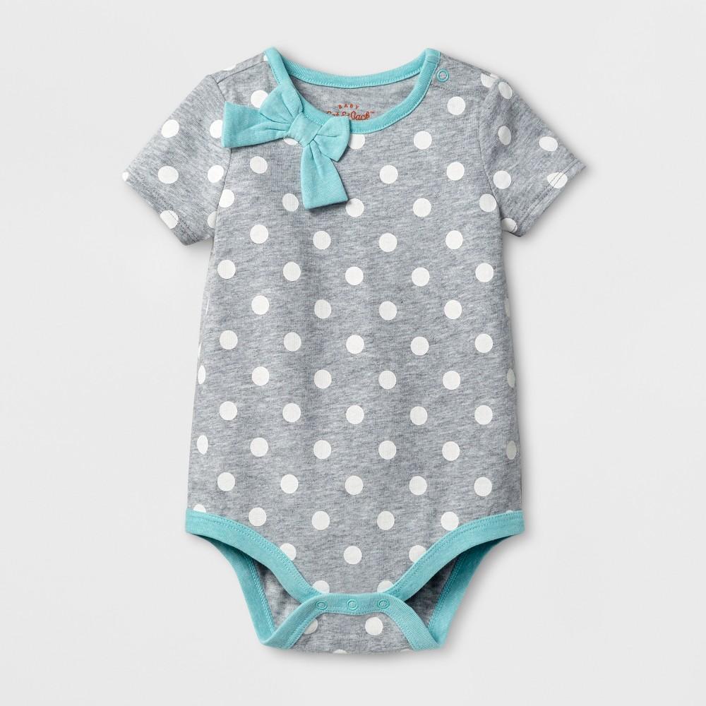 Baby Girls Long Sleeve Bow Neck Bodysuit - Cat & Jack White Dot/Aqua 6-9 Months, Size: 6-9 M, Gray