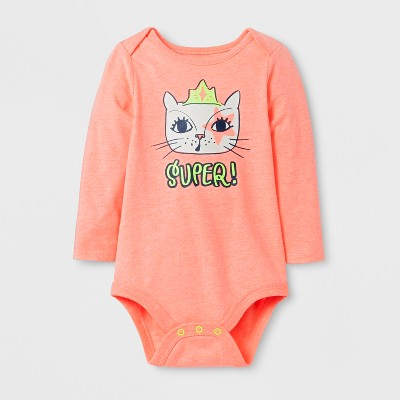 Baby Girls' Long Sleeve Super! Cat Bodysuit - Cat & Jack™ Peach 6-9 Months