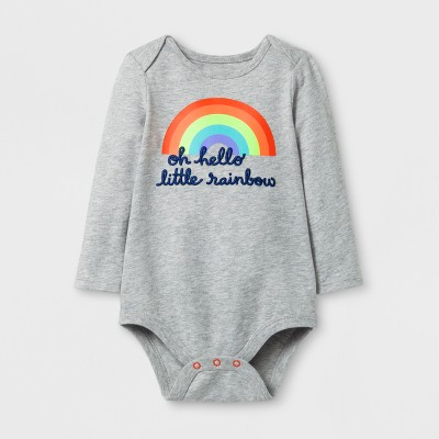 Baby Girls' Long Sleeve Little Rainbow Bodysuit - Cat & Jack™ Gray 12 M