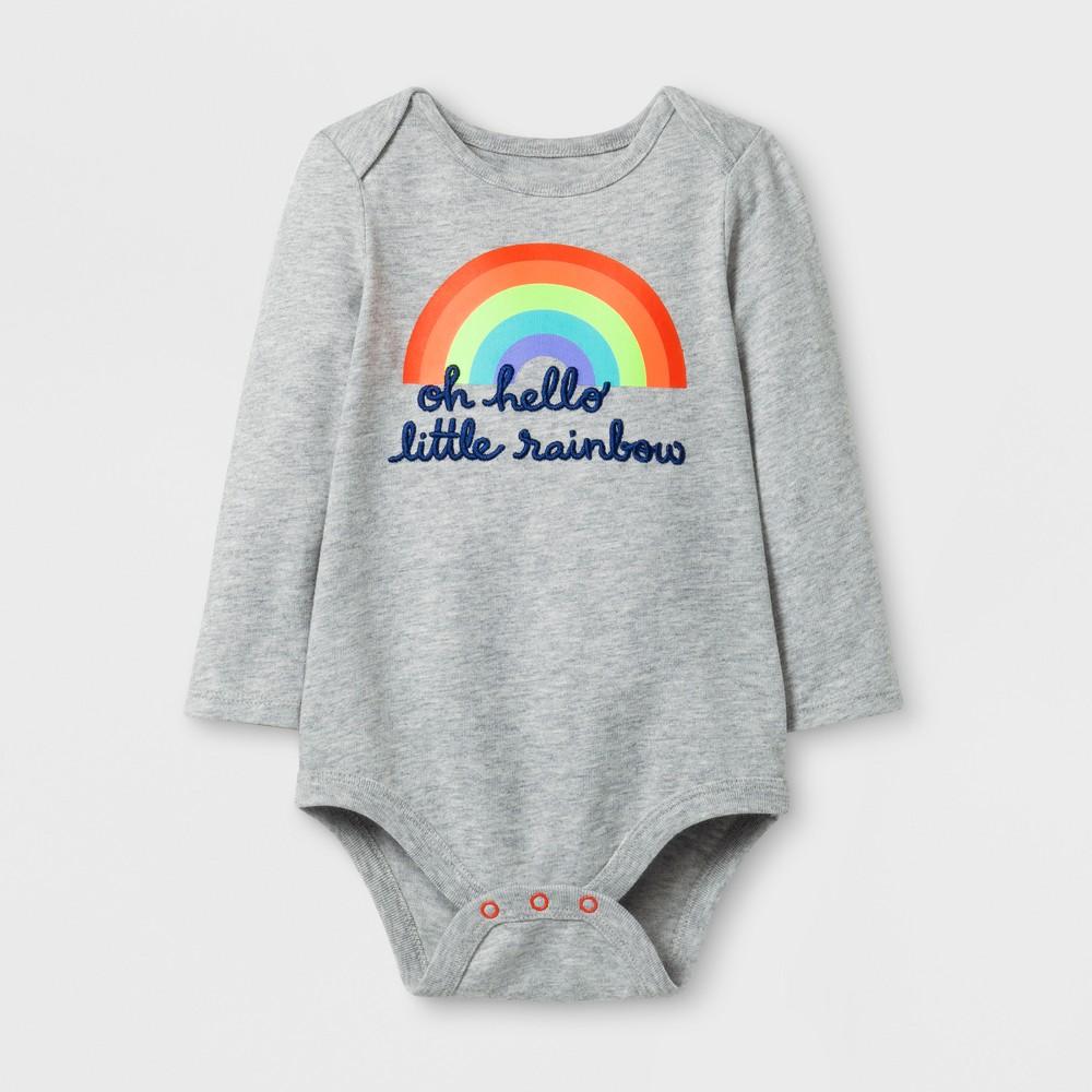Baby Girls Long Sleeve Little Rainbow Bodysuit - Cat & Jack Gray 12 M, Size: 12 Months