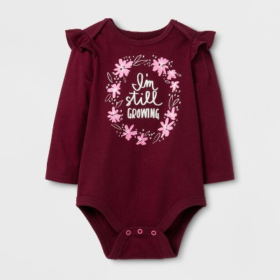 Baby Girls' Long Sleeve Still Growing Bodysuit - Cat & Jack™ Burgundy NB