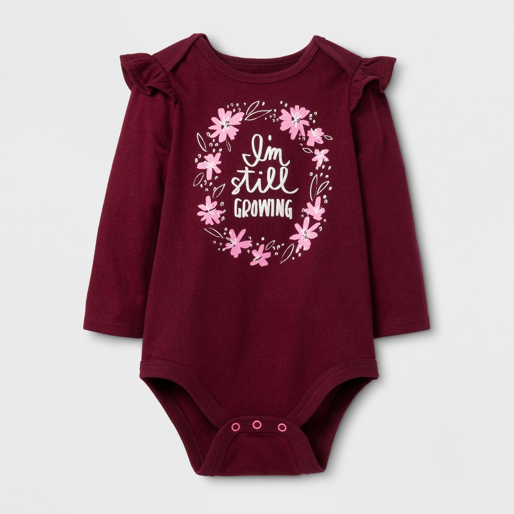 Baby Girls Long Sleeve Still Growing Bodysuit - Cat & Jack Burgundy NB, Purple