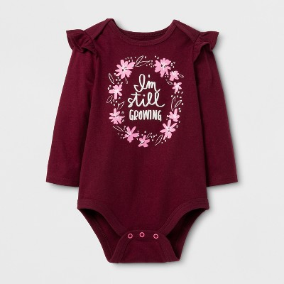 Baby Girls' Long Sleeve Still Growing Bodysuit - Cat & Jack™ Burgundy 6-9 Months