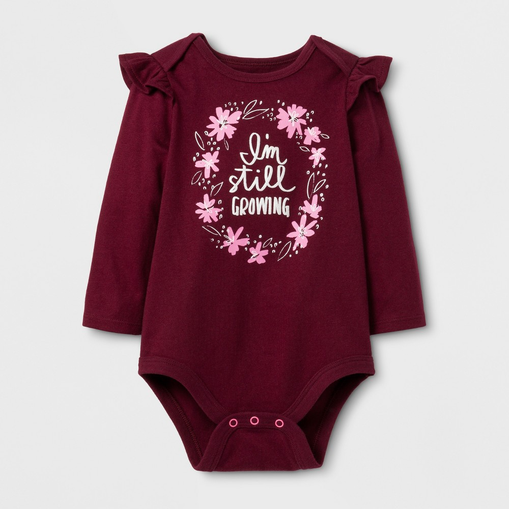 Baby Girls Long Sleeve Still Growing Bodysuit - Cat & Jack Burgundy 6-9 Months, Size: 6-9 M, Purple