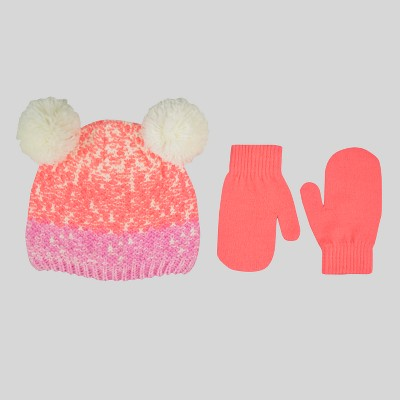 Baby Girls' Double Icelandic Pom Bean with Mittens - Cat & Jack™ Pink 12-24M