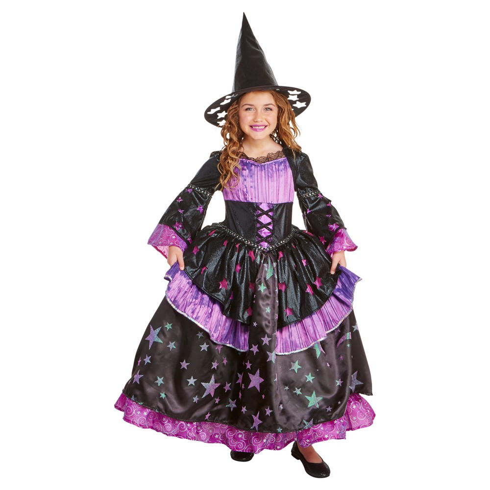 Girls Deluxe Premium Star Gazer Witch Costume S (4-6) - Hyde and Eek! Boutique, Black Pink Purple
