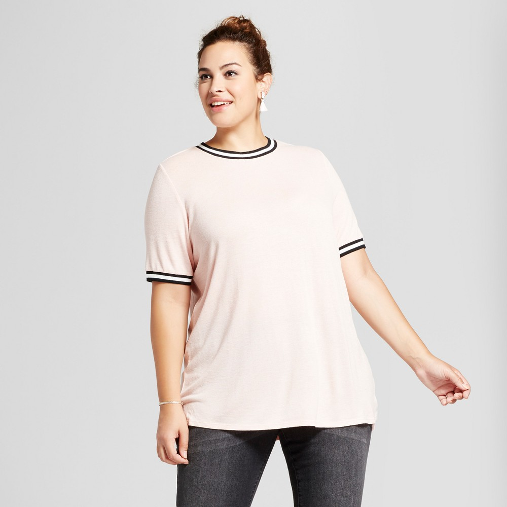 Womens Plus Size Sport Trim T-Shirt - Ava & Viv Peach (Pink) 3X
