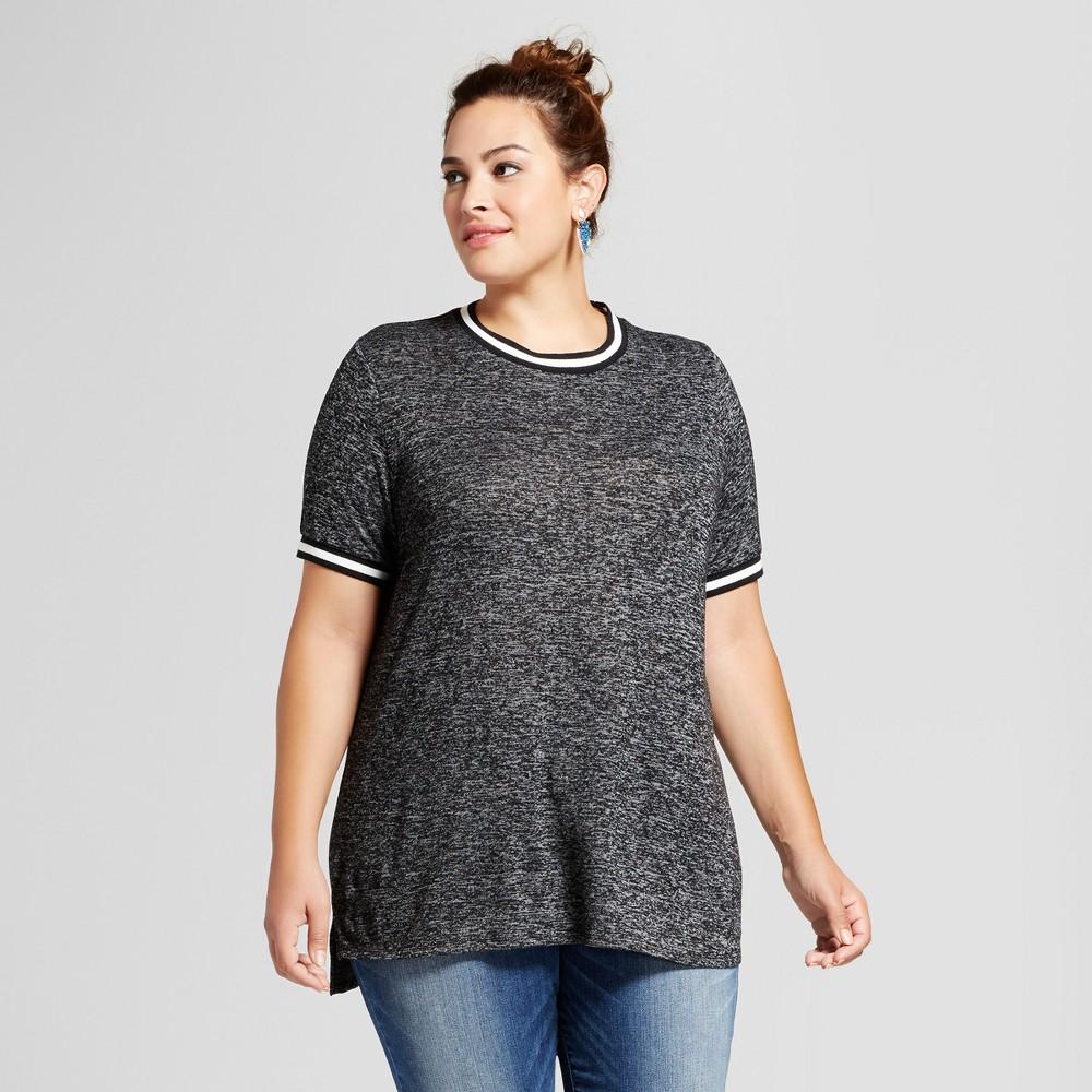 Women's Plus Size Sport Trim T-Shirt - Ava & Viv Dark Heather X