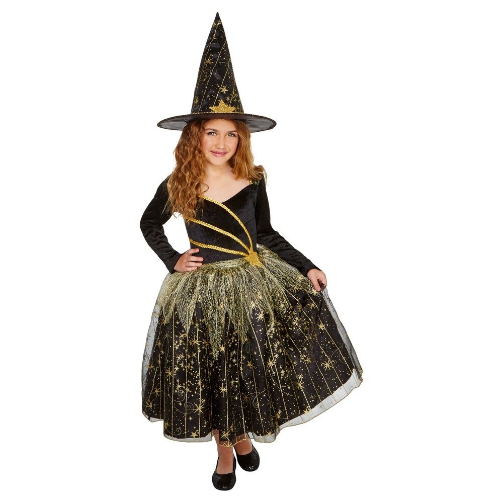 Girls Deluxe Shooting Star Witch Costume S (4-6) - Hyde and Eek! Boutique, Black Gold
