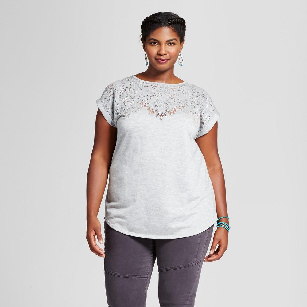 Womens Plus Size Burnout T-Shirt - Ava & Viv Heather Gray 2X