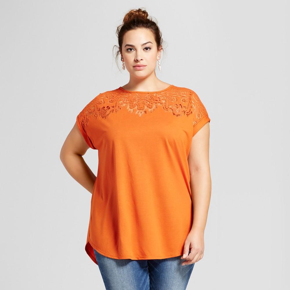 Womens Plus Size Burnout T-Shirt - Ava & Viv Orange 4X