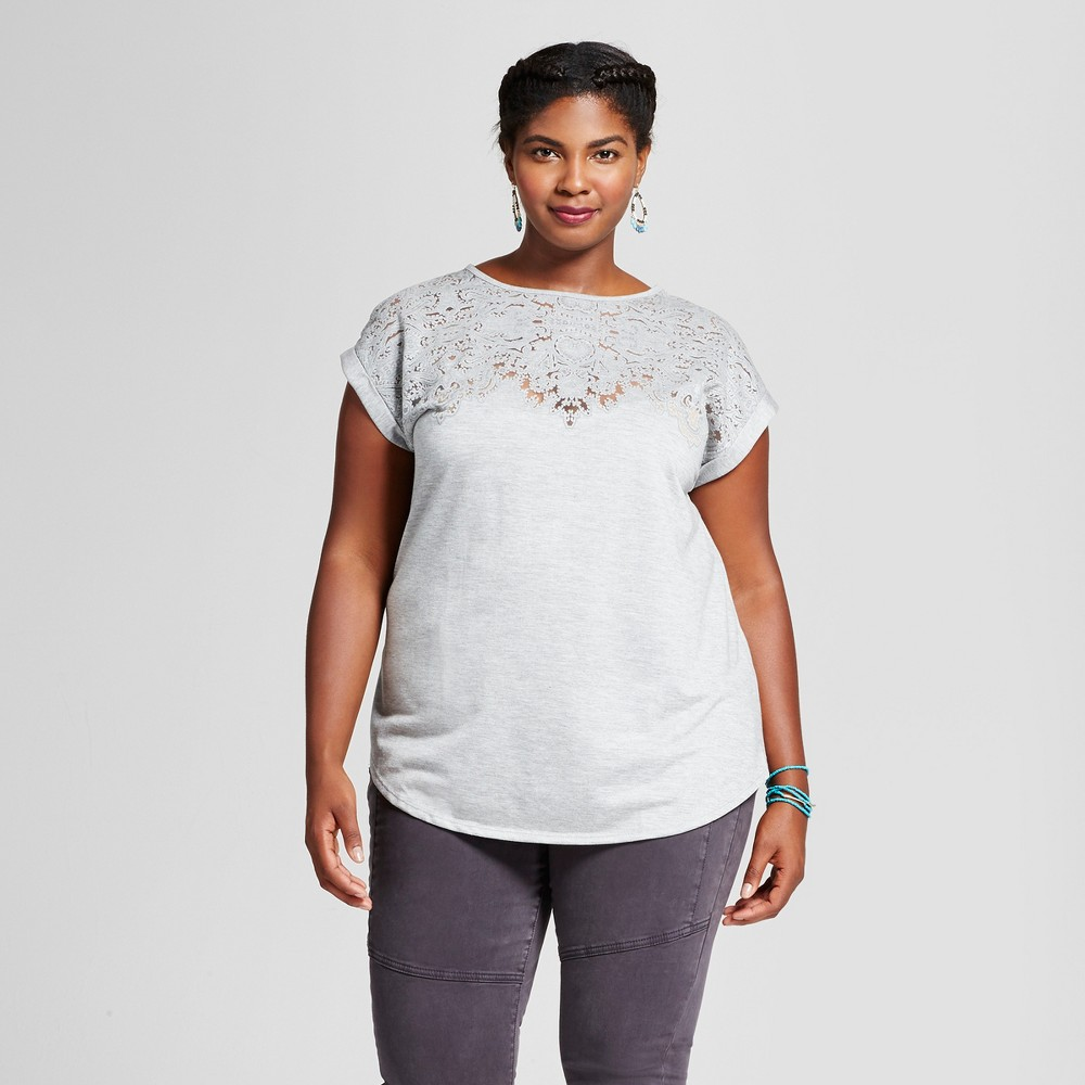 Womens Plus Size Burnout T-Shirt - Ava & Viv Heather Gray 1X