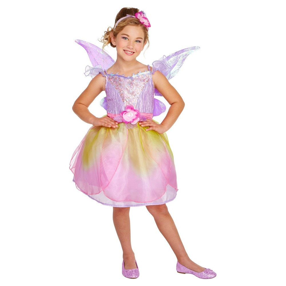 Girls Flower Fairy Deluxe Costume M (7-8) - Hyde and Eek! Boutique, Pink Purple