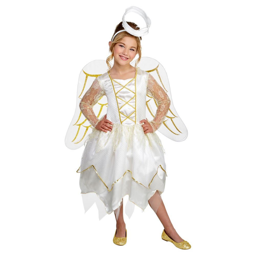 Girls Angel Deluxe Costume S (4-6) - Hyde and Eek! Boutique, White
