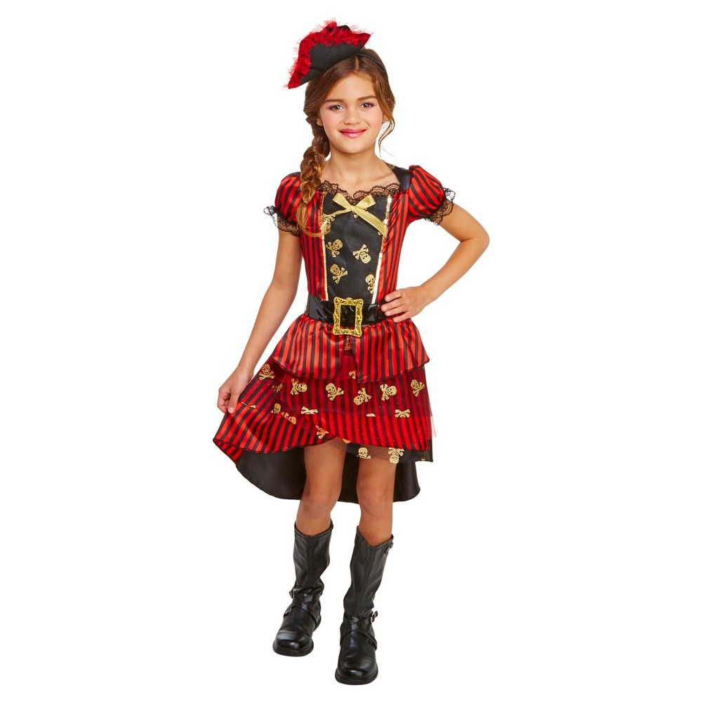 Girls Pirate Deluxe Costume S (4-6) - Hyde and Eek! Boutique, Black Red
