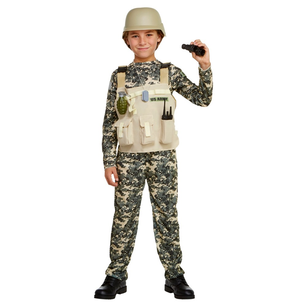 Boys Deluxe Army Costume L (12-14) - Hyde and Eek! Boutique, Green Beige