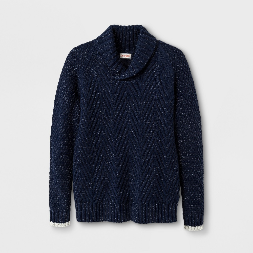 Boys Shawl Collar Pullover Sweater - Cat & Jack Navy L, Blue