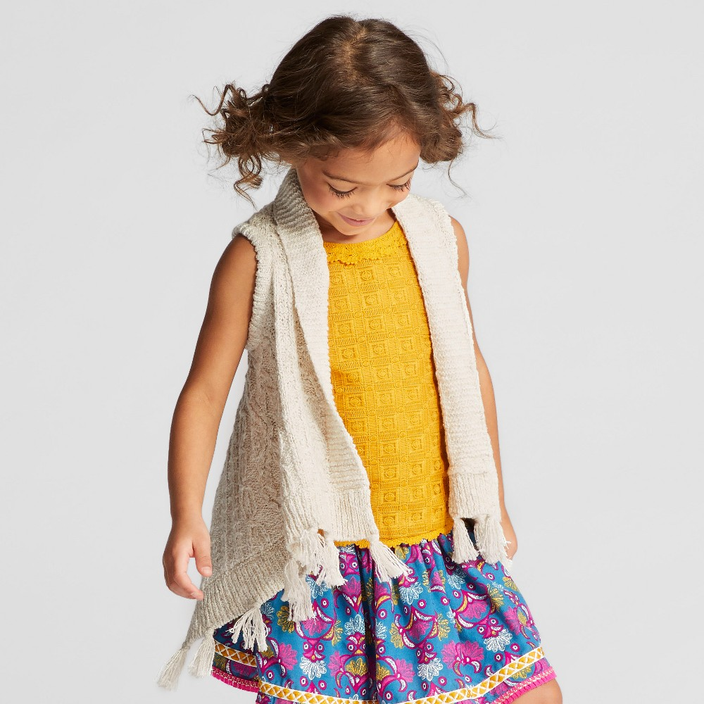 Toddler Girls Sweater Vest - Genuine Kids from OshKosh Oatmeal Heather 12M, Size: 12 M, Brown