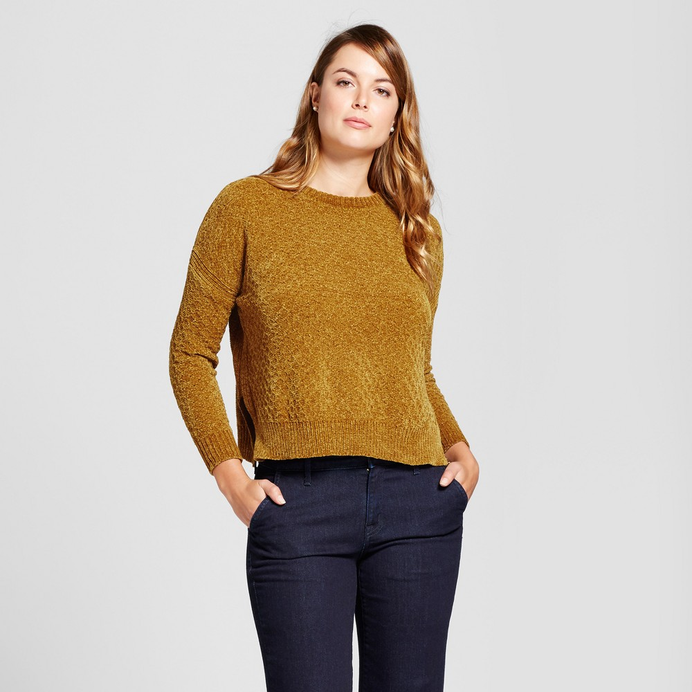 Womens Chenille Any Day Pullover - A New Day Gold L