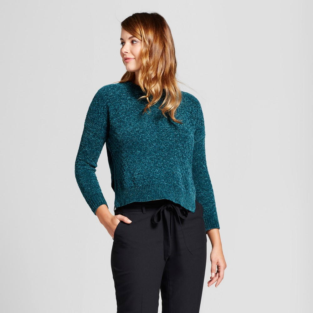 Women's Chenille Any Day Pullover - A New Day Green XS
