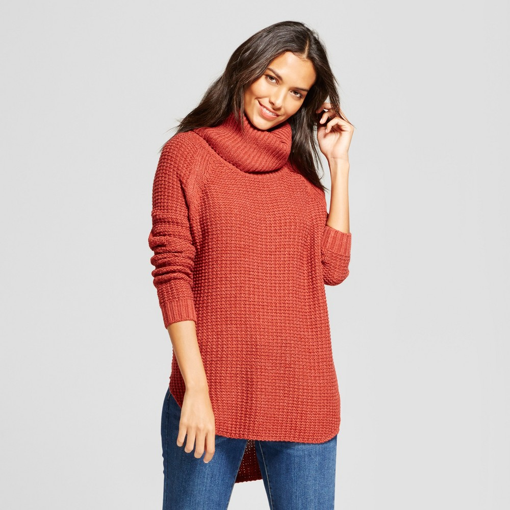 Women's Chunky Cowlneck Tunic - A New Day Rust (Red) S