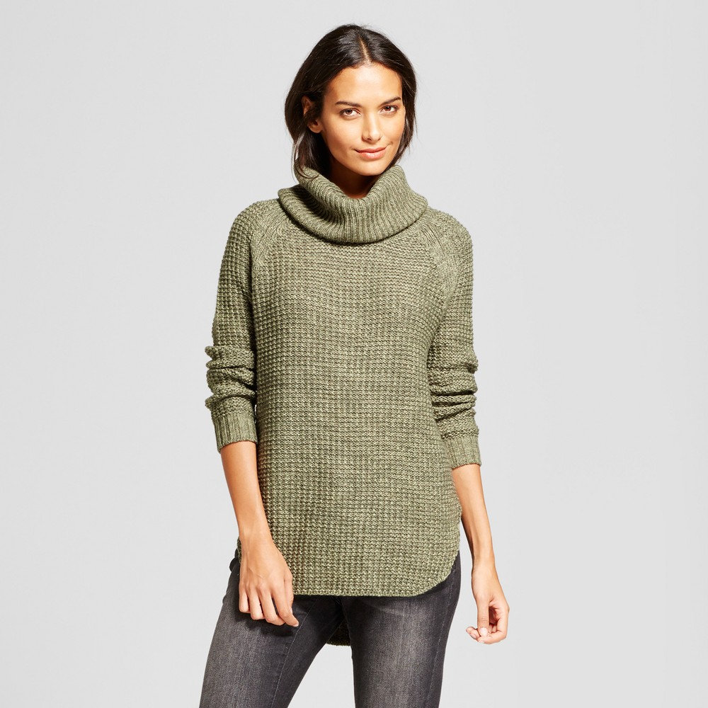 Womens Chunky Cowlneck Tunic - A New Day Green M