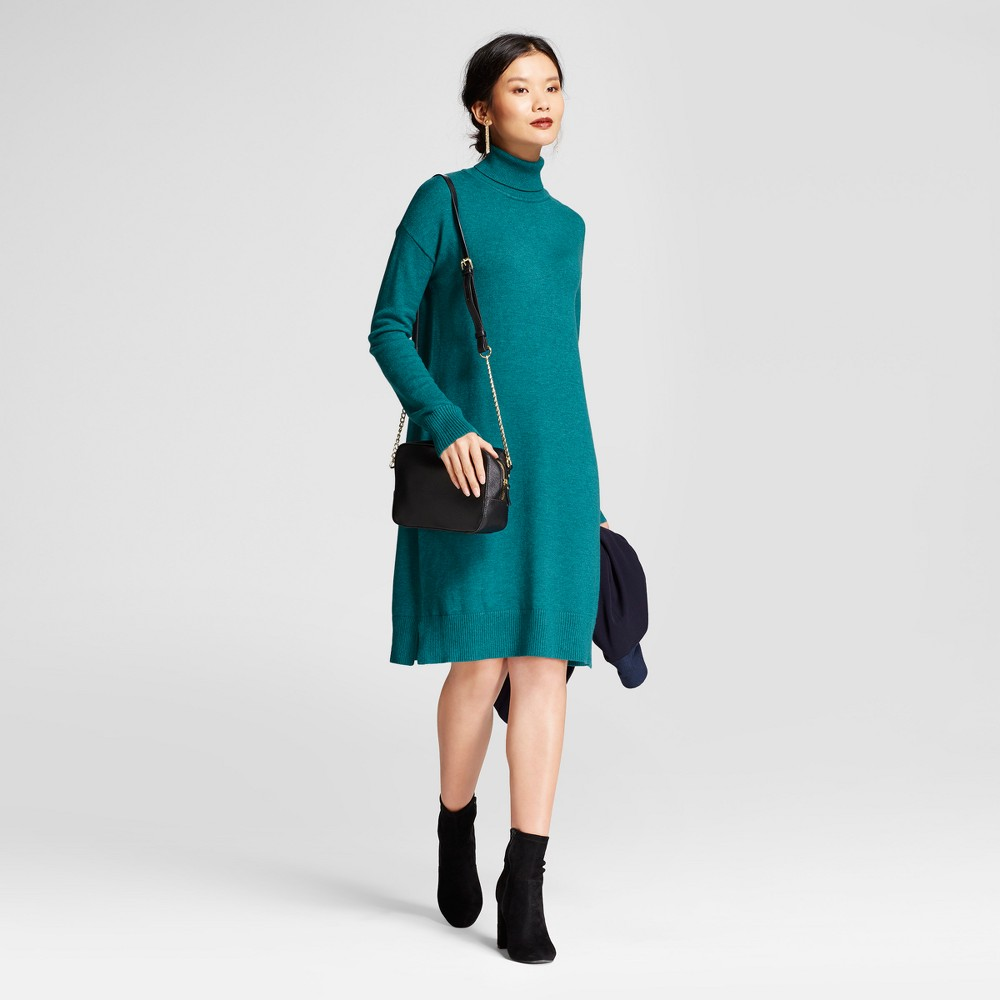 Womens Turtleneck Sweater Dress - A New Day Green M