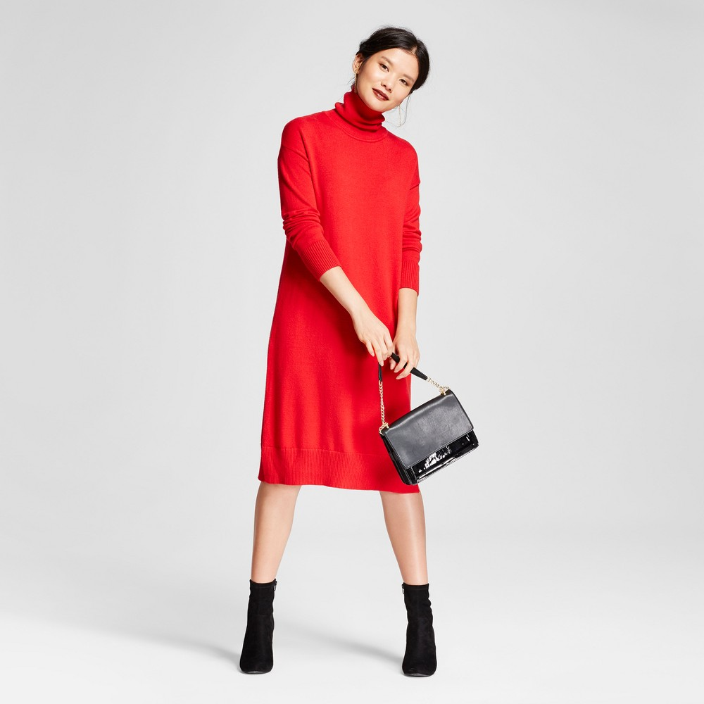 Womens Turtleneck Sweater Dress - A New Day Red M