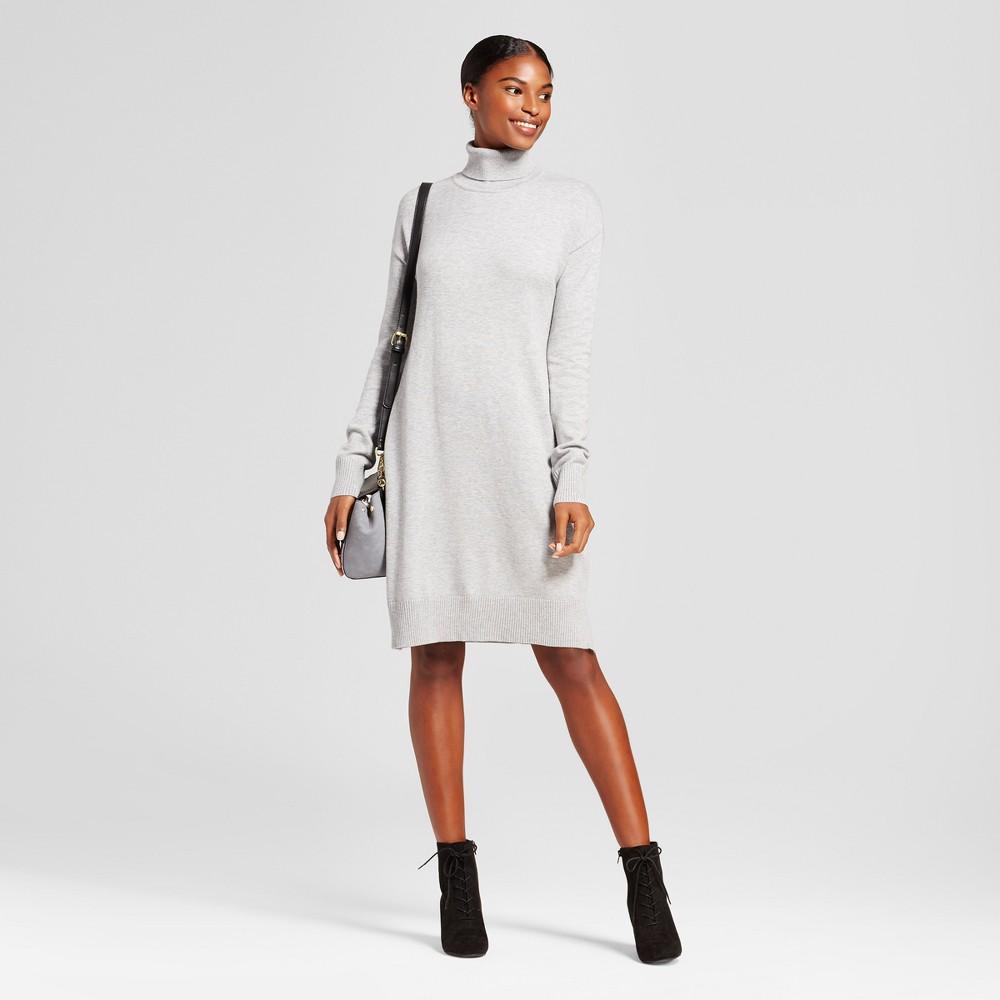 Womens Turtleneck Sweater Dress - A New Day Gray M