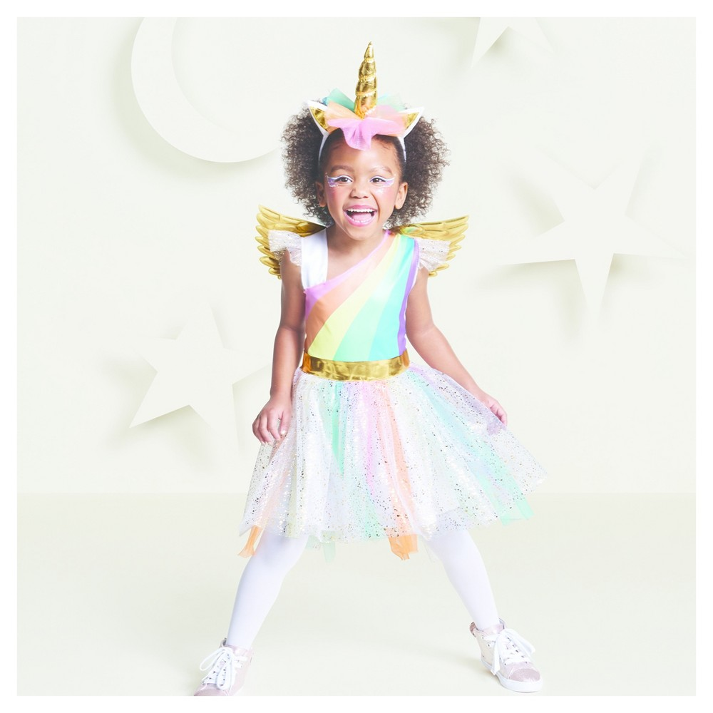 Toddler Girls Rainbow Unicorn Costume 2T-3T - Hyde and Eek! Boutique, Multicolored