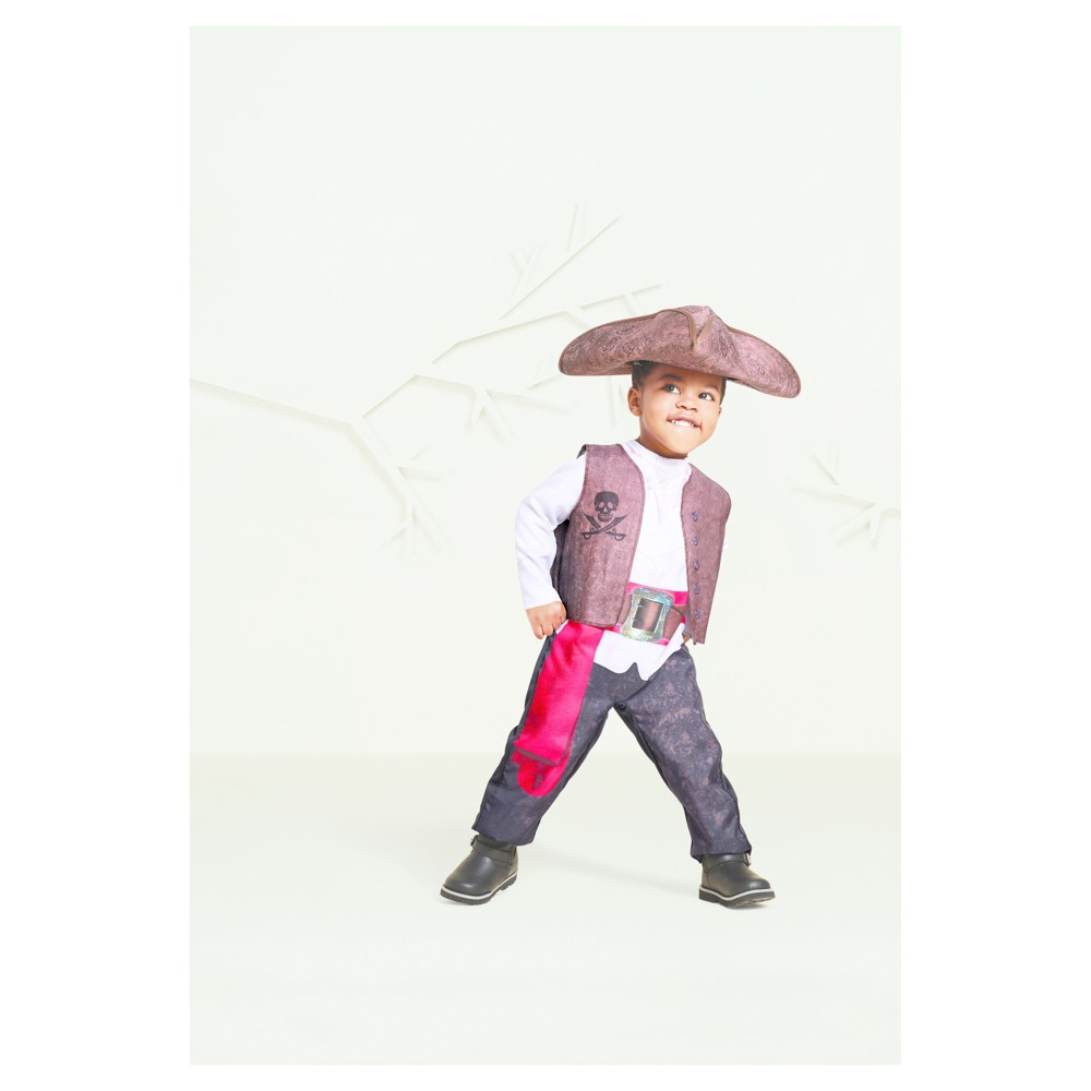 Toddler Boys Pirate Captain Costume with Tricorn Hat 2T-3T - Hyde and Eek! Boutique, Brown