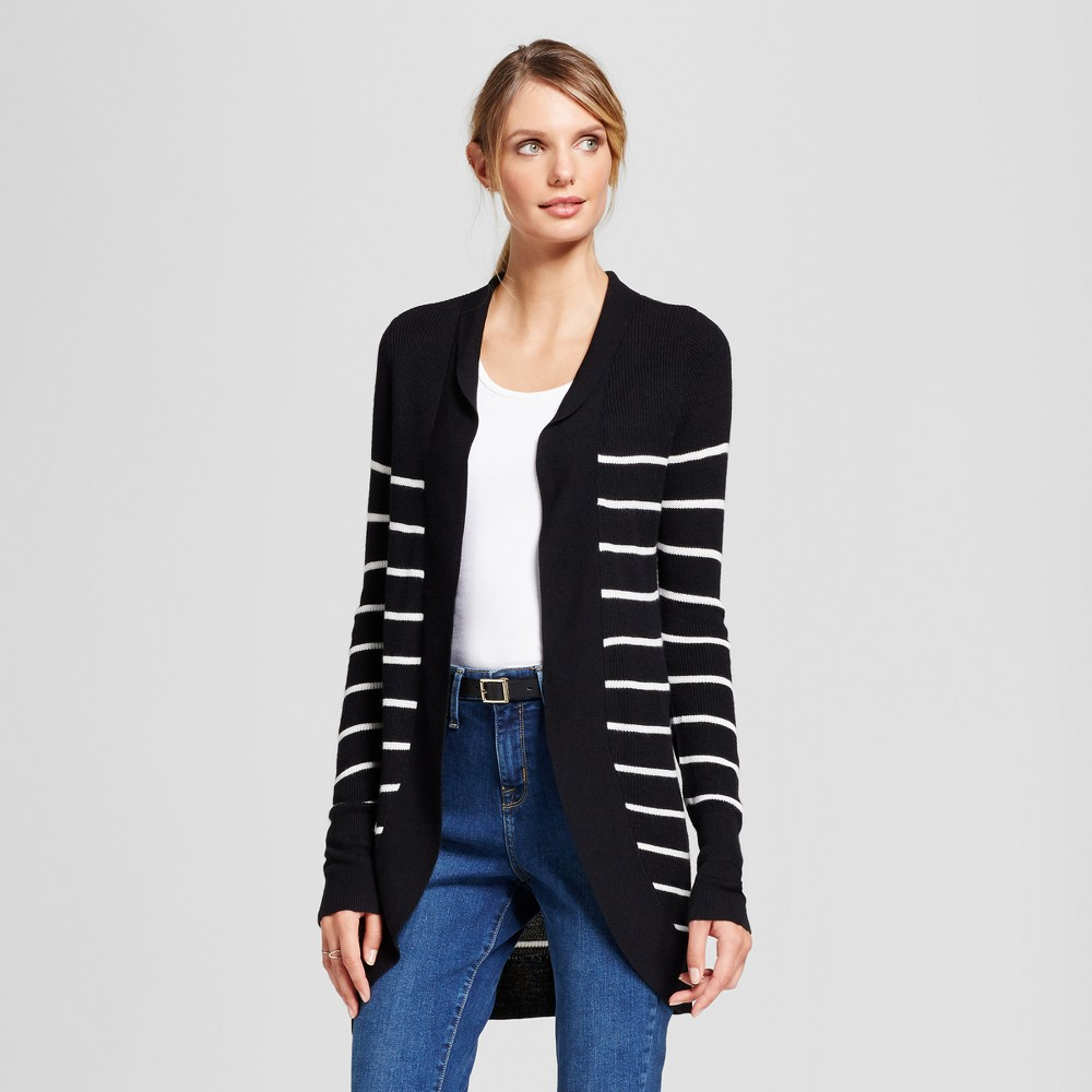 Womens Striped Cocoon Cardigan - A New Day Black/White XL