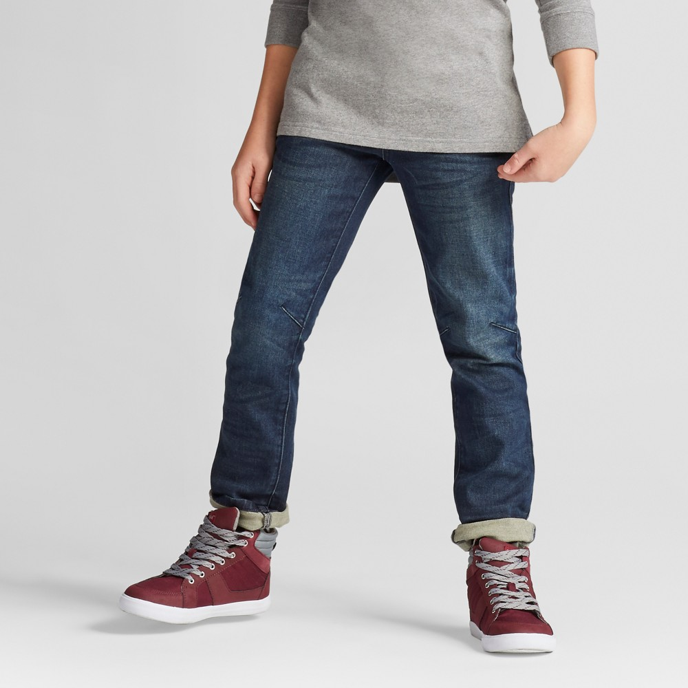 Boys Knit Dark Wash Skinny Denim - Cat & Jack Navy 14, Blue