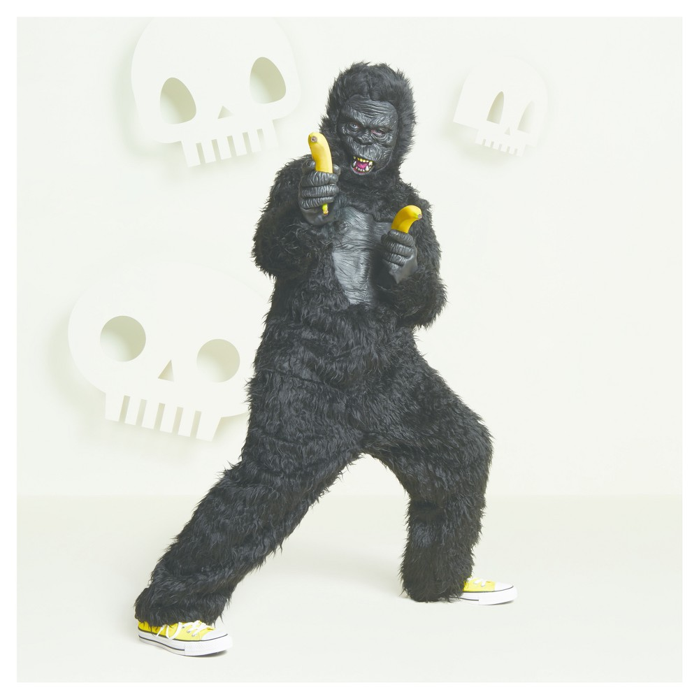 Boys Gorilla Deluxe Costume L (10-12) - Hyde and Eek! Boutique, Black