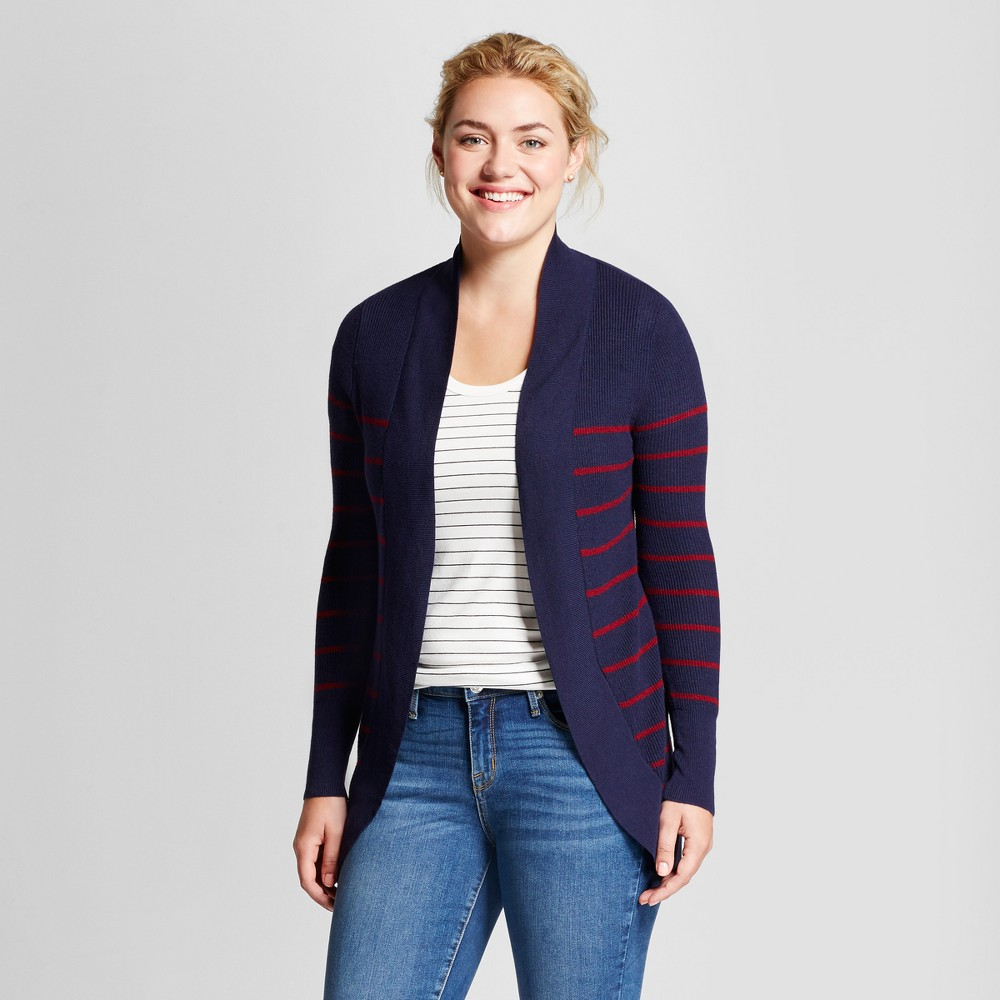 Womens Striped Cocoon Cardigan - A New Day Navy/Red (Blue/Red) L