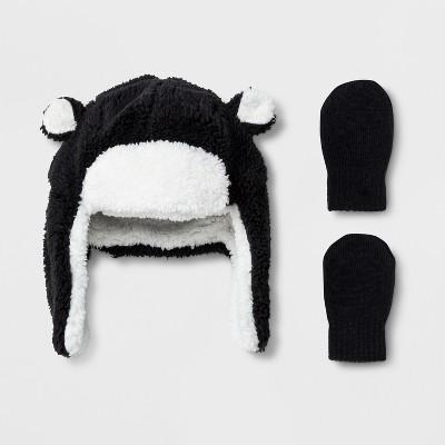 Toddler Boys' Trapper Hat and Mitten Set - Cat & Jack™ Black