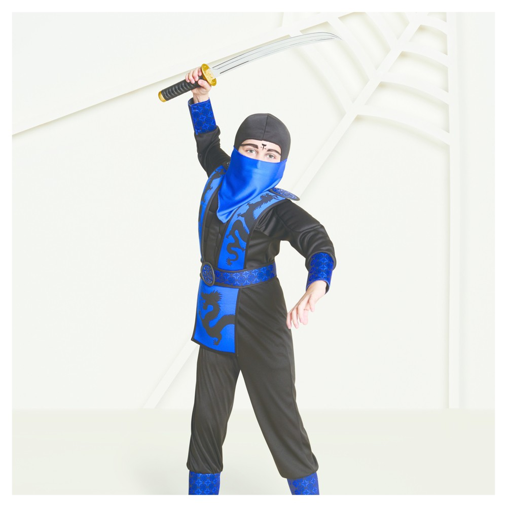 Boys Muscle Ninja Costume M (7-8) - Hyde and Eek! Boutique, Blue