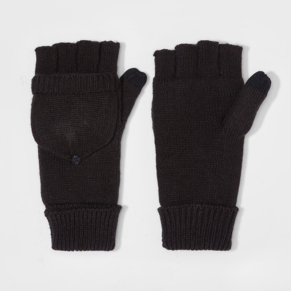 Mens Fold Over Mitten With Fleece Lined - Goodfellow & Co Black One Size