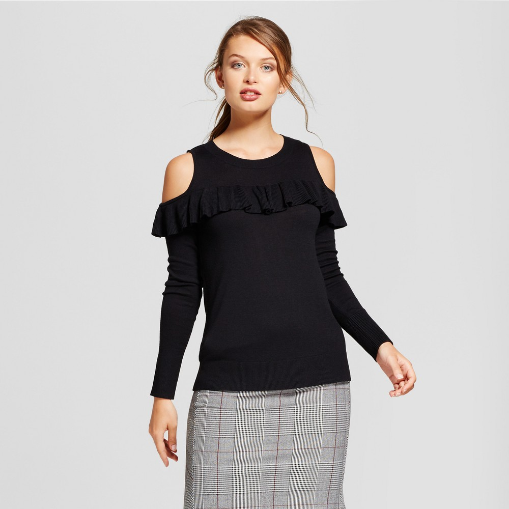 Womens Ruffle Any Day Pullover - A New Day Black XL
